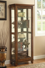5 Shelf Curio Cabinet with Warm Brown Finish - 950188