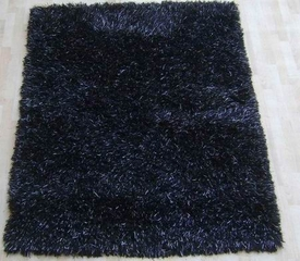 5' x 7' Handmade Wool Rug in Black with Grey Accents - AM-Shag-2292-BLACK-GREY