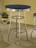 50's Soda Fountain Bar Table in Retro Chrome / Black Top - Coaster