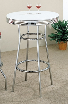50's Soda Fountain Bar Table in Retro Chrome / White Top - Coaster