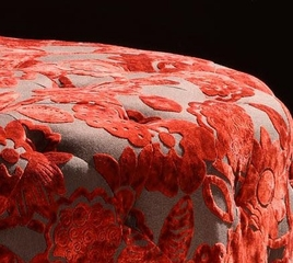 "5005 Victoria 40"" Round Ottoman in Red Velvet Fabric - Armen Living - LC5005OTRE"