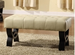 "5012 Central Park 24"" Tufted Ottoman in Cream Leather - Armen Living - LC5012BEBCCR24"