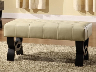 "5012 Central Park 36"" Tufted Ottoman in Cream Leather - Armen Living - LC5012BEBCCR36"