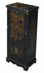"51"" Antique Style Oriental Jewelry Armoire / Cabinet in Black Leather - frc5035"