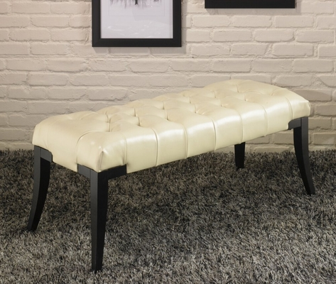 511 Tufted Newport Bench in Cream Leather - Armen Living - LC511TUBECR