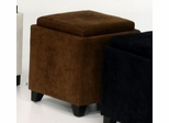 530 Micro Fiber Storage Ottoman in Brown - Armen Living - LC530OTMFBR