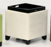 530 Micro Fiber Storage Ottoman in Cream - Armen Living - LC530OTMFBE