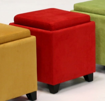 530 Micro Fiber Storage Ottoman in Red - Armen Living - LC530OTMFRE
