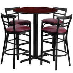 5PC 24'' Round Mahogany Laminate Table Set with Bar Stools - Burgundy Vinyl Seat - HDBF1038-GG
