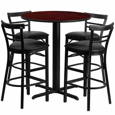 5PC 24'' Round Mahogany Table and  4 Metal Bar Stools Set - Black Vinyl Seat - HDBF1034-GG