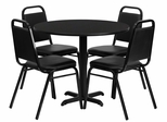5PC 36'' Round Black Table and 4 Trapezoidal Back Banquet Chairs - HDBF1001-GG
