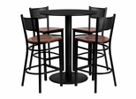 5PC 36'' Round Black Table Set with 4 Metal Bar Stools - MD-0018-GG