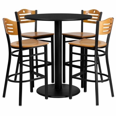 5PC 36'' Round Black Table Set with 4 Metal Bar Stools - Natural Wood Seat - MD-0020-GG