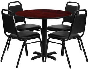 5PC 36'' Round Mahogany Table and 4 Trapezoidal Back Banquet Chairs - HDBF1002-GG