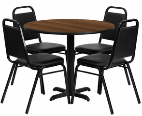 5PC 36'' Round Walnut Table and 4 Trapezoidal Back Banquet Chairs - HDBF1004-GG