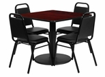 5PC Square Mahogany Table & Banquet Chairs Set - RSRB1010-GG