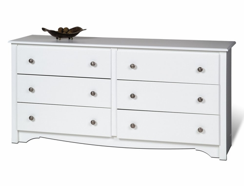 6 Drawer Dresser in White - Monterey Collection - Prepac Furniture - WDC-6330