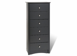 6 Drawer Lingerie Chest in Black - Sonoma Collection - Prepac Furniture - BDC-2354