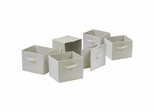 6 Foldable Beige Fabric Baskets - Winsome Trading - 82611