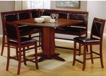 6-Piece Corner Dining Set in Deep Distressed Dark Brown - Coaster