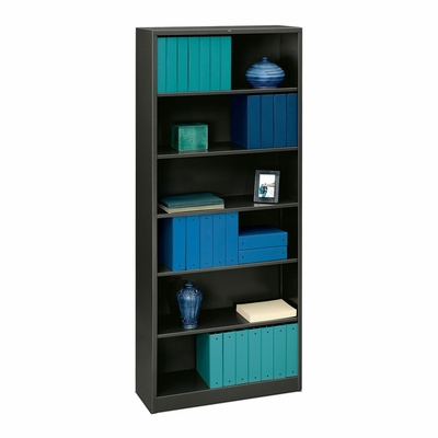 6 Shelf Metal Bookcase - Charcoal Gray - HONS82ABCS