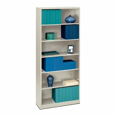 6 Shelf Metal Bookcase - Light Gray - HONS82ABCQ