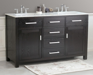 "60"" Dark Espresso Double Sink Bathroom Vanity - Virtu USA Bathroom Vanities - LD-2145"