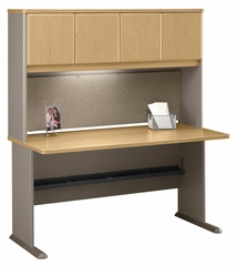 "60"" Desk and Hutch Set - Series A Light Oak Collection - Bush Office Furniture - WC64360-61"