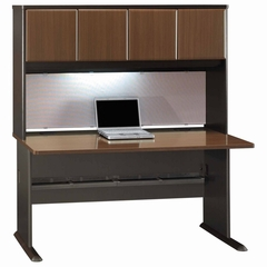 "60"" Desk and Hutch Set - Series A Walnut Collection - Bush Office Furniture - WC25560-61"