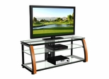 "60"" Flat Panel Plasma LCD HD TV Stand / Media Console Center in Black / Light Cherry Wood - TVS-6811400"