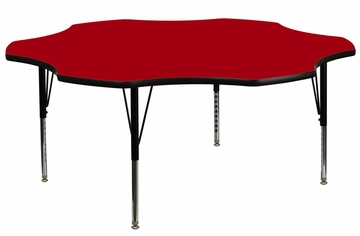 60'' Flower Shaped Activity Table with Red Laminate Top - Pre-School Legs - XU-A60-FLR-RED-T-P-GG