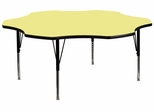 60'' Flower Shaped Activity Table with Yellow Laminate Top - Pre-School Legs - XU-A60-FLR-YEL-T-P-GG
