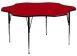 60'' Flower Shaped Standard Height Activity Table with Red Laminate Top - XU-A60-FLR-RED-T-A-GG