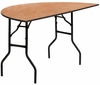 60'' Half-Round Wood Folding Banquet Table - YT-WHRFT60-HF-GG