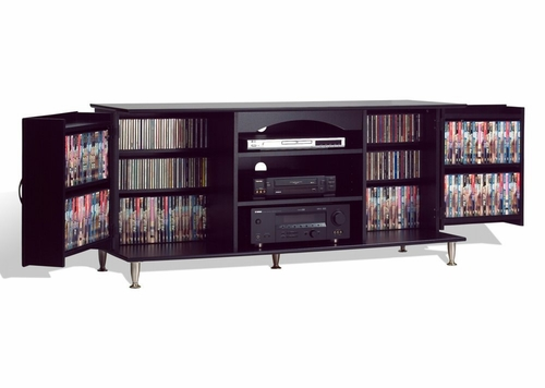 60 Inch Flat Panel / Flat Screen TV Console with Media Storage in Black - Prepac Furniture - BPS-6000
