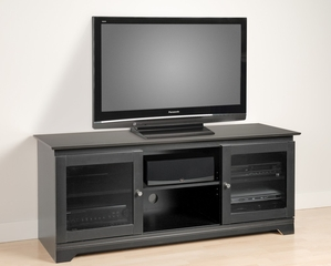 60 Inch Flat Panel LCD / Plasma TV Console with 2 Glass Doors in Black - Francesca - Prepac Furniture - BFG-5924