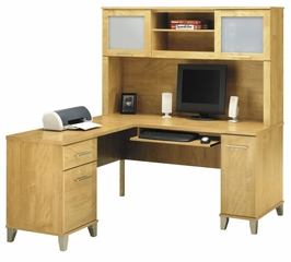 60 Inch L-Shaped Desk and Hutch - Bush Office Furniture - OFFPKG-37