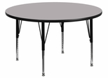60'' Round Activity Table, Grey Thermal Fused Laminate Top & Height Adjustable Pre-School Legs - XU-A60-RND-GY-T-P-GG