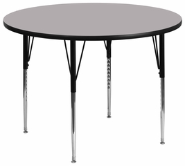 60'' Round Activity Table, Grey Thermal Fused Laminate Top & Standard Height Adjustable Legs - XU-A60-RND-GY-T-A-GG
