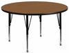 60'' Round Activity Table, Oak Thermal Fused Laminate Top & Height Adjustable Pre-School Legs - XU-A60-RND-OAK-T-P-GG