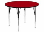 60'' Round Activity Table, Red Thermal Fused Laminate Top & Standard Height Adjustable Legs - XU-A60-RND-RED-T-A-GG