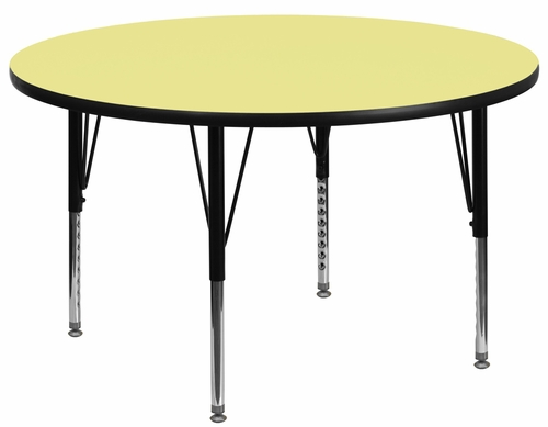 60'' Round Activity Table, Yellow Thermal Fused Laminate Top & Height Adjustable Pre-School Legs - XU-A60-RND-YEL-T-P-GG