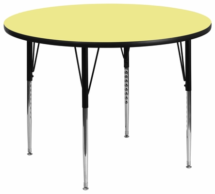 60'' Round Activity Table, Yellow Thermal Fused Laminate Top & Standard Height Adjustable Legs - XU-A60-RND-YEL-T-A-GG