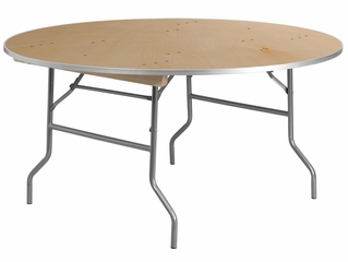 60'' Round HEAVY DUTY Birchwood Folding Banquet Table - XA-60-BIRCH-M-GG