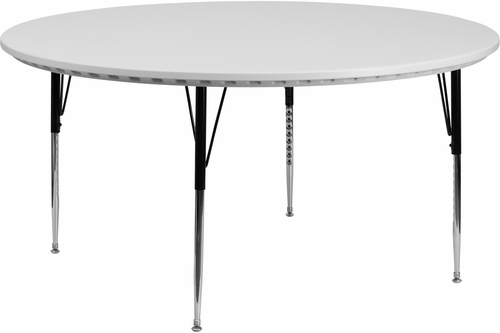 60'' Round Height Adjustable Granite White Blow Molded Activity Table - RB-60R-GRY-A-GG