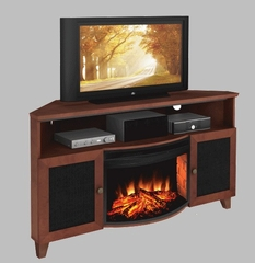 "60"" Shaker Style TV Corner Console with 25"" Electric Fireplace - FT61SCCFB"