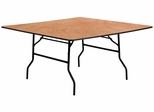 60'' Square Wood Folding Banquet Table - YT-WFFT60-SQ-GG