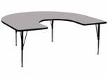 60''W x 66''L Horseshoe Activity Table in Grey with Height Adjustable Pre-School Legs - XU-A6066-HRSE-GY-T-P-GG