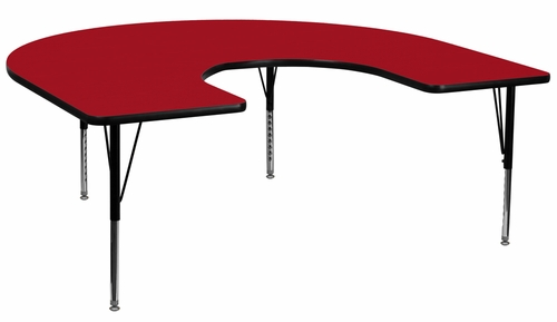 60''W x 66''L Horseshoe Activity Table in Red with Height Adjustable Pre-School Legs - XU-A6066-HRSE-RED-T-P-GG