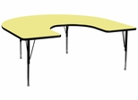 60''W x 66''L Horseshoe Activity Table in Yellow with Height Adjustable Pre-School Legs - XU-A6066-HRSE-YEL-T-P-GG